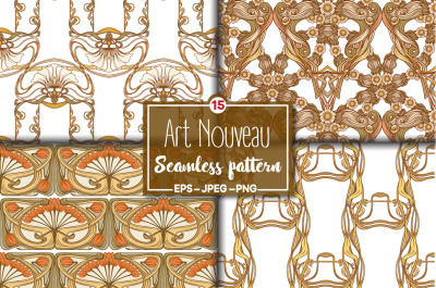 15 Art Nouveau Style Seamless Patterns