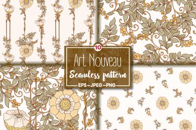 10 Art Nouveau Floral Seamless Patterns
