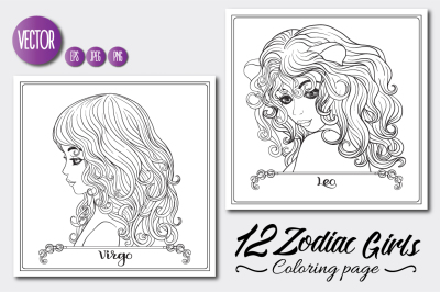 12 Zodiac Girls Coloring Pages