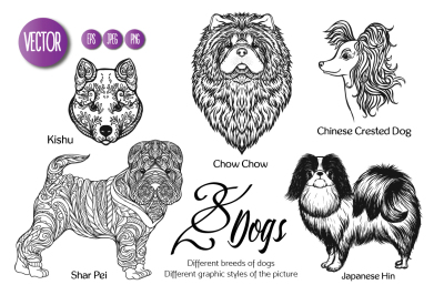 28 dogs of different breeds