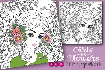 11 Girls & Flowers Coloring Pages
