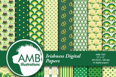 Irish Saint-Patrick's day papers, patterns, AMB-1587