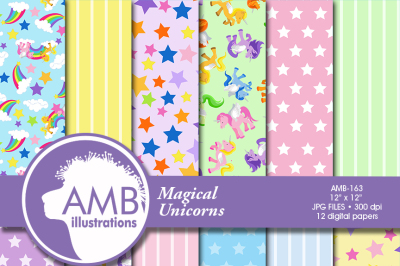 Unicorn digital papers, Magical Unicorn scrapbook papers, Stars papers, lined papers, pony papers, pastel papers, AMB-163