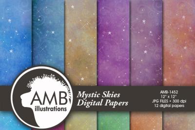 Starlit night digital paper, Photograph background, sky background, sky digital paper, magical paper, AMB-1452