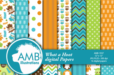 Owl Digital Papers, Owl Birthday, striped papers, dotted papers, numbers papers, Scrapbook Papers, commercial use, AMB-1937