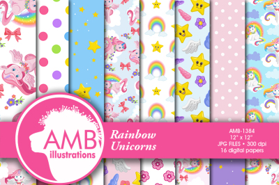 Unicorn Digital Papers, Rainbow Unicorns, Nursery Scrapbook papers, Rainbows and Stars Digital Backgrounds, Commercial use, AMB-1384