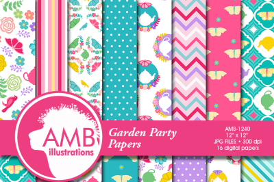 Tea Time Digital Papers, Garden Party Papers, Shabby chic papers, Tea party papers, scrapbook papers, commercial use, AMB-1240