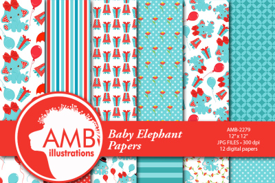Baby elephant patterns, red and teal elephants papers, AMB-2279