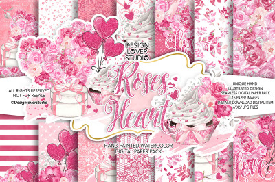 Roses Heart Valentine digital paper pack