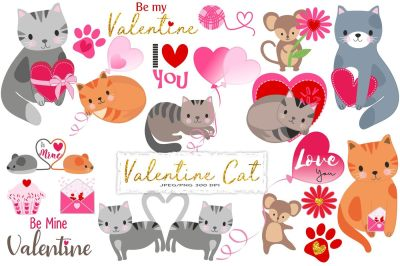 Valentine Cats Clipart
