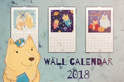 Wall calendar 2018. Year of dog!