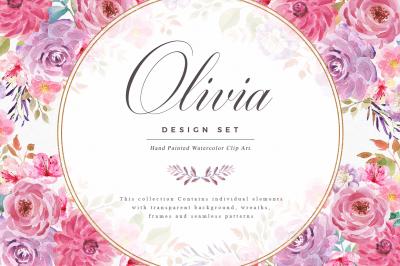 Watercolor Flowers - Olivia