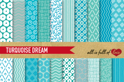 Hand draw Turquoise Digital Paper Pack: Dream Collection
