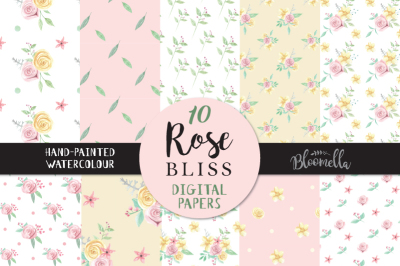 Pink Rose Bliss Watercolor Seamless Patterns Digital Papers Hand Painted Flowers