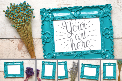 Dainty Delicate Flowers and Frames Mockup Set