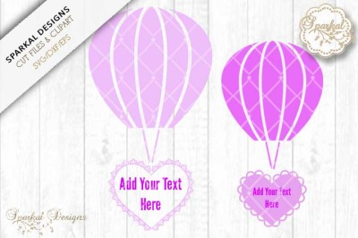 Hot Air Balloons with Filigree Hearts - Cut files
