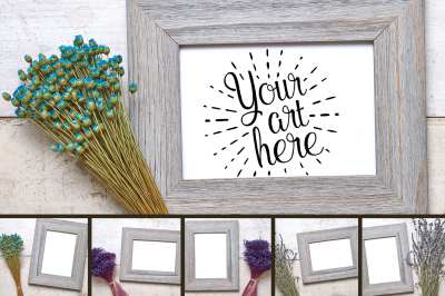 Distressed and Delicate Wood Frame on Antique Textured Wood Background Layflat Art Print High Res Real Photo Mockup