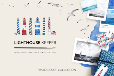 LIGHTHOUSE KEEPER watercolor collection