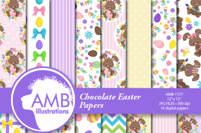 Chocolate Easter Papers, Easter patterns AMB-1177