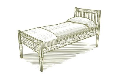 Woodcut Vintage Bed