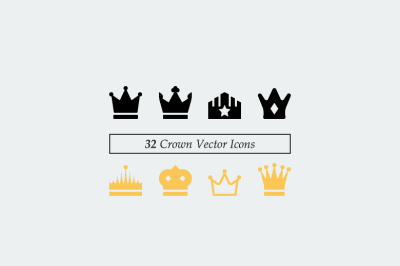 32 Vector Crown Icons