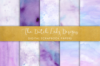 Scrapbook Paper - Watercolor Ombres in Purple & Blue