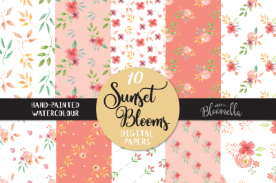 Sunset Blooms Watercolor Seamless Patterns Digital Papers Hand Painted Pretty Flowers