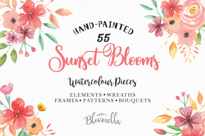 Watercolor Flower Clipart Huge Package Patterns Bouquets Floral Spring Summer