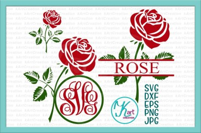 rose monogram svg, rose monogram iron on, rose svg, rose iron on, rose split monogram svg, flower monogram svg, flower split monogram, svg