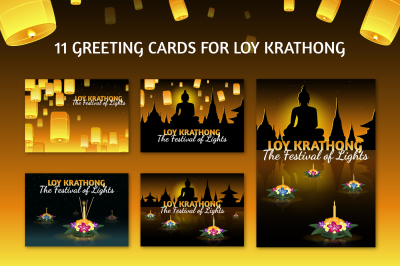 Set of 11 Loy Krathong cards