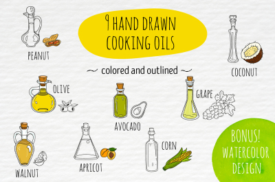 Hand drawn cooking and cosmetic oils