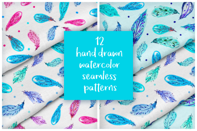 Watercolor feathers patterns light