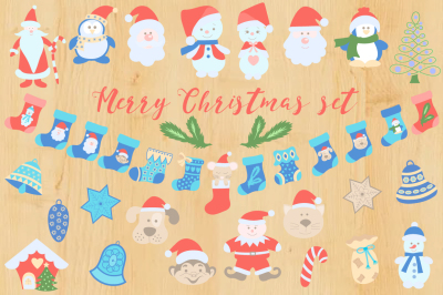 Merry Christmas vector set