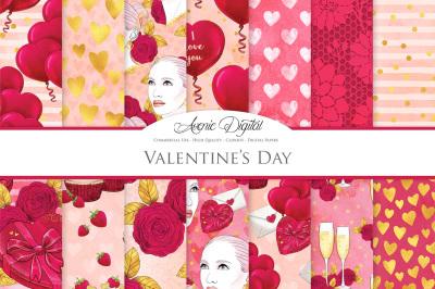 Hand Drawn Valentine's day Digital Paper