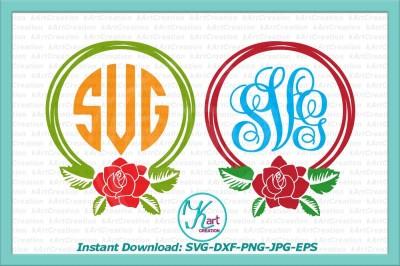 rose wreath monogram svg, rose monogram svg, wreath monogram svg, wreath monogram iron on, birthday monogram svg, cutting file cricut, dxf