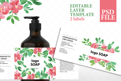 Soap label design, cosmetic label template, product packaging template, botanical label design, watercolor packaging design, soap packaging