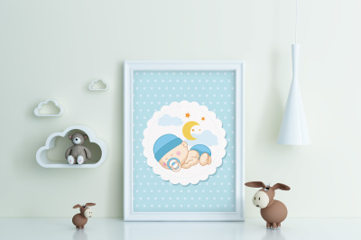 Kids Room Frame/poster Mockup toy