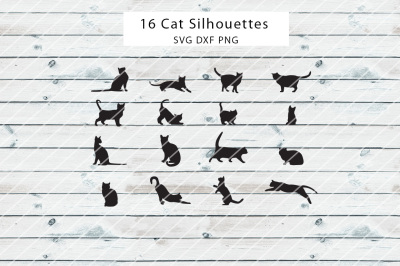 16 Cat Silhouettes SVG DXF PNG