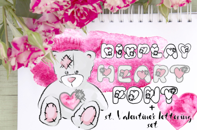 Saint Valentin's Day lettering set