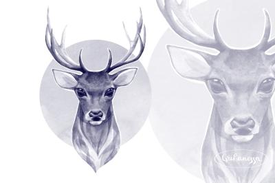 Noble deer. Monochrome watercolor