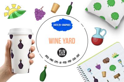 Wine yard illustrations and graphics