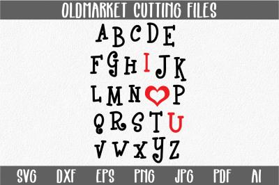 I Heart U Alphabet SVG Cut File - Valentine SVG - DXF - PNG - JPEG - PDF - EPS - AI
