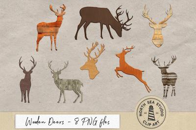 Wooden Deers Clipart