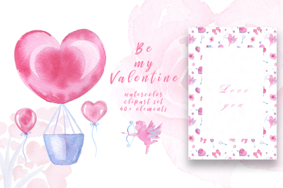 Watercolor Clipart - Valentine's Day