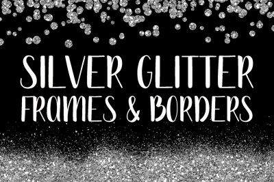 Silver Glitter Frames and Borders PNG Clipart Bundle - Includes 64 squares, circles, borders and more!