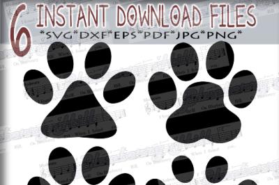 Paw Print SVG - 4 Paw Prints - Paw SVG file - pet svg -Silhouette Cut Files - DIY- Svg - Dxf- Eps - Png -Jpg - Pdf
