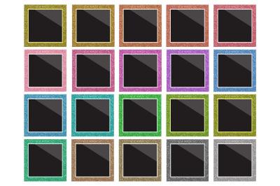 Rainbow Glitter Film Frame Set