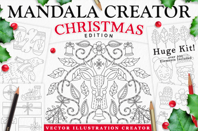 Coloringbook Mandala Creator: Christmas Edition for Adobe Illustrator