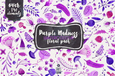 Purple Madness Watercolor - Floral Pack