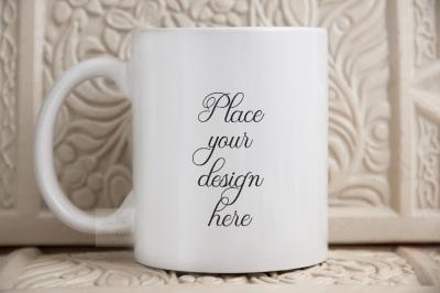 Coffee mug mockup beige rustic 11oz white cup mockup, PSD smart mugs m